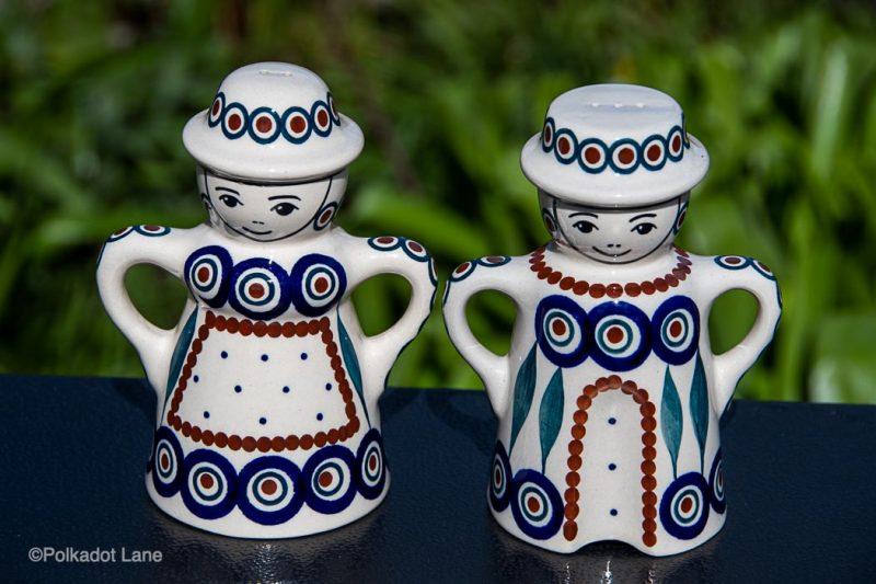 Peacock Leaf salt and Pepper Pots by Ceramika Manufaktura Polish Pottery