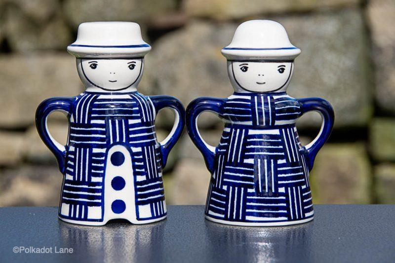 Weave Pattern Salt and Pepper Pots by Ceramika Manufaktura Polish Pottery
