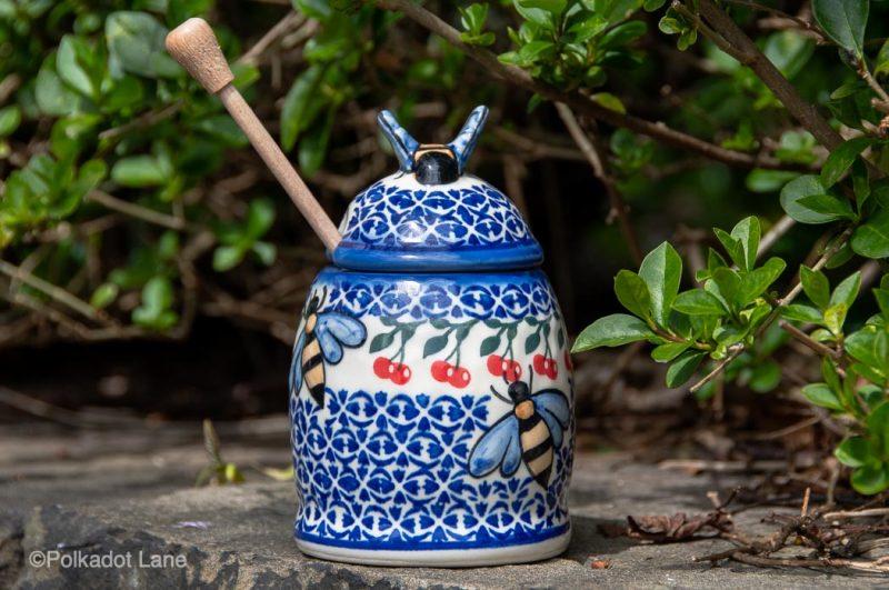 Cherry Pattern Honey Pot by Ceramika Andy Polish Pottery