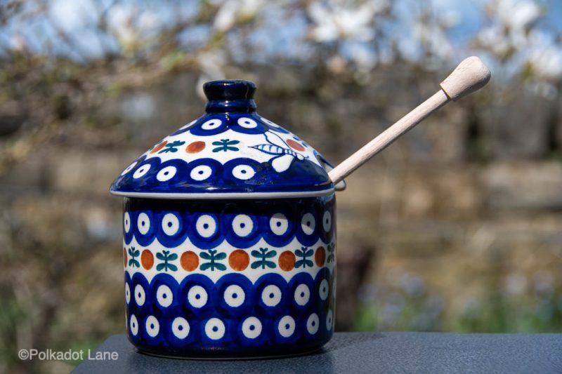 Polish Pottery Fern Spot Honey Pot by Ceramika Manufaktura