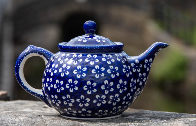 Polish Pottery Teapot White Flower on Blue from Polkadot Lane UK