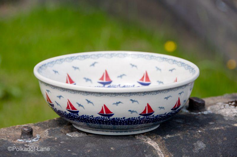 Boats Pattern Salad Bowl Ceramika Manufaktura from Polkadot Lane UK
