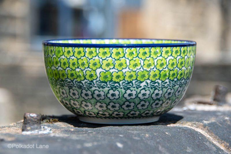 Green Meadow Cereal Bowl by Ceramika Artystyczna Polish Pottery