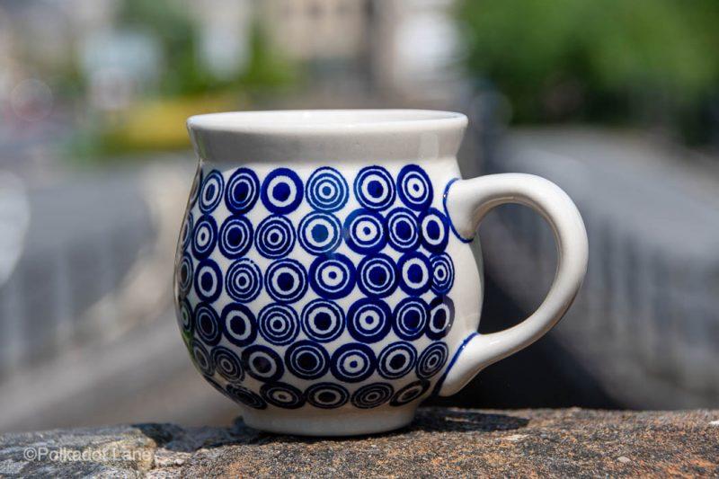 Retro Circles Pattern Large Mug by Ceramika Manufaktura Polish Pottery