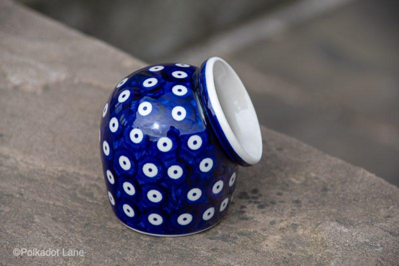 Blue Spotty Polish Pottery Salt Pig from Polkadot Lane UK