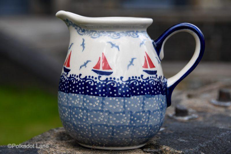 Polish Potters Small Jug by Ceramika Manufaktura Boats Pattern