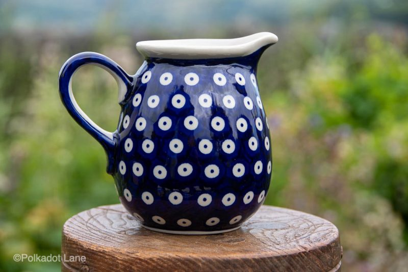 Small Jug Blue Spotty Pattern by Ceramika Manufaktura
