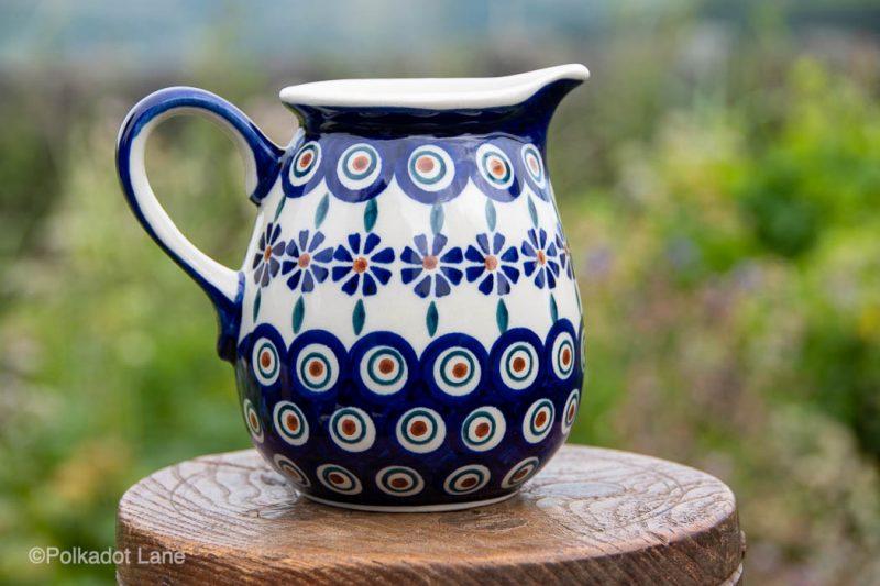 Peacock Flower Jug 400ml by Ceramika Manufaktura Polish Pottery