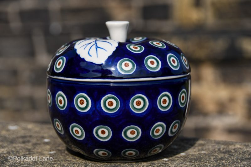 Peacock Leaf Apple Baker by Ceramika Artystyczna Polish Pottery