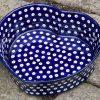Blue Spotty Heart Dish by Ceramika Artystyczna Polish Pottery