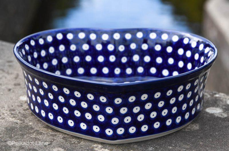 Blue Spotty Heart Dish by Ceramika Artystyczna