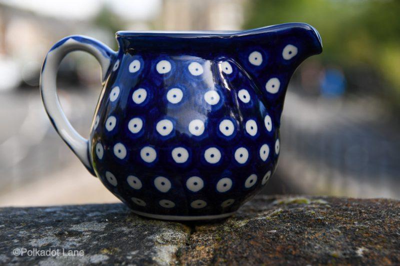 Polish Pottery Milk Jug Blue Spotty Pattern by Ceramika Artystyczna