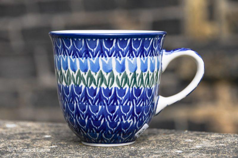 Polish Pottery Blue Tulip Curve Shaped Mug by Ceramika Artystyczna