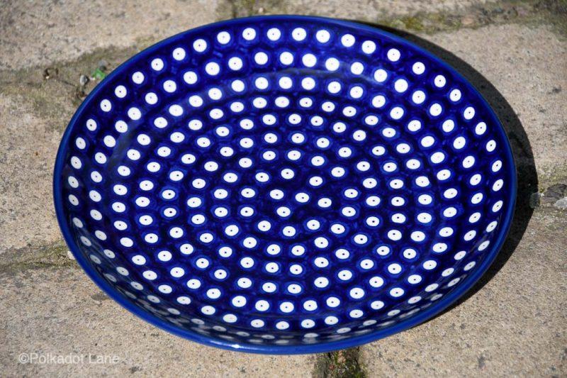 Blue Spotty Dinner Plate by Ceramika Artystyczna from Polkadot lane UK