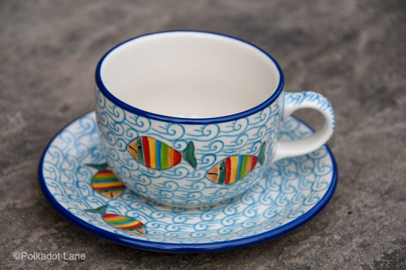 Cup and Saucer Fish in the Sea Pattern by Ceramika Artystyczna