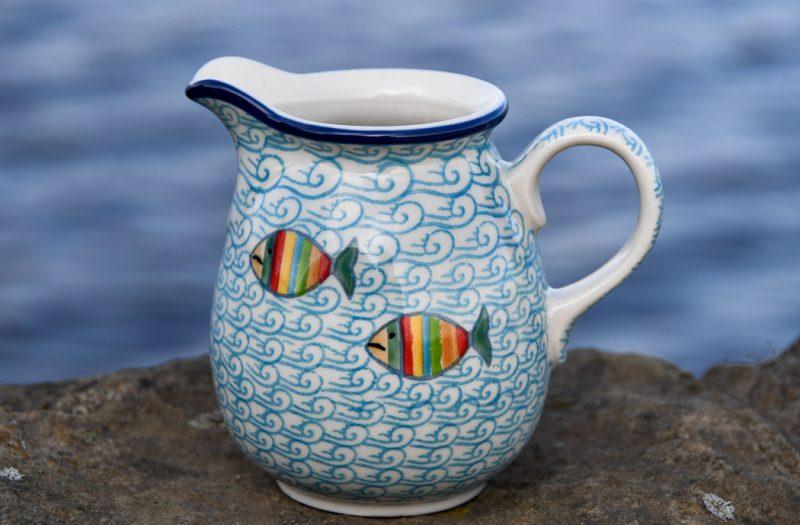 Polish Pottery Fish in the Sea Small Jug by Ceramika Artystyczna