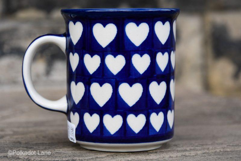 Hearts Pattern Medium Size Tea Mug by Ceramika Artystyczna