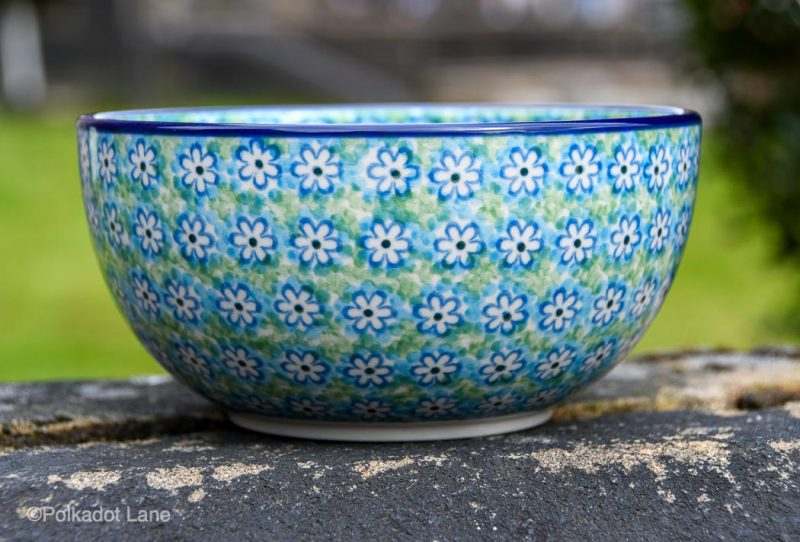 Large Cereal Bowl Turquoise Daisy Pattern by Ceramika Artystyczna
