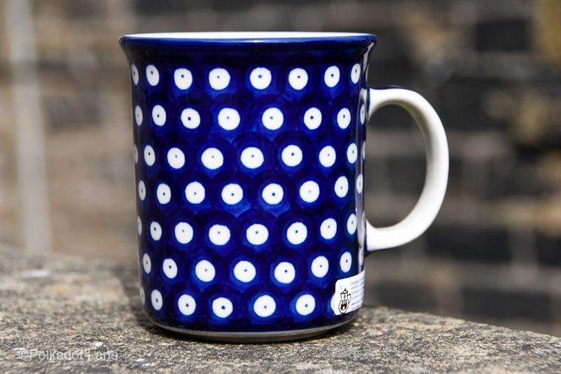Polish Pottery Blue Spotty Pattern Large Tea Mug by Ceramika Artystyczna