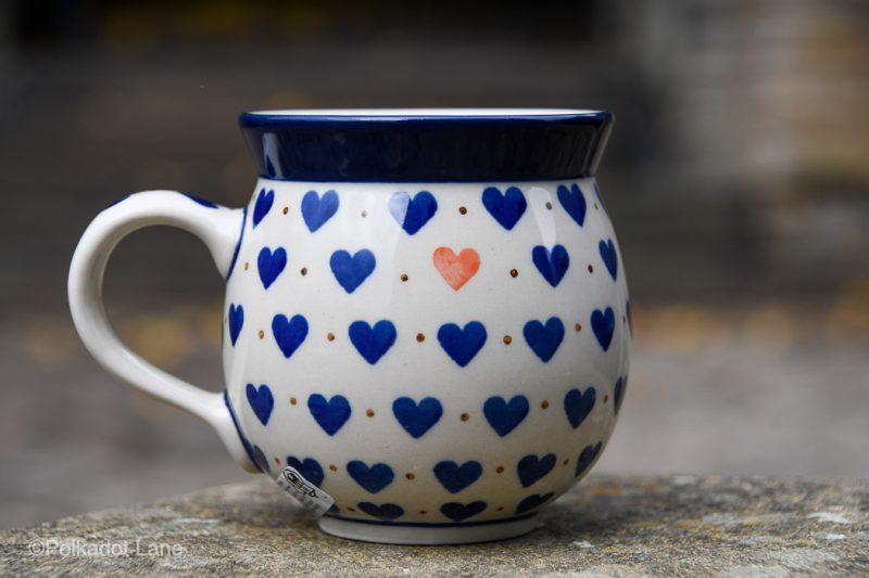 Small Hearts Medium Size Mug by Ceramika Artystyczna Polish Pottery