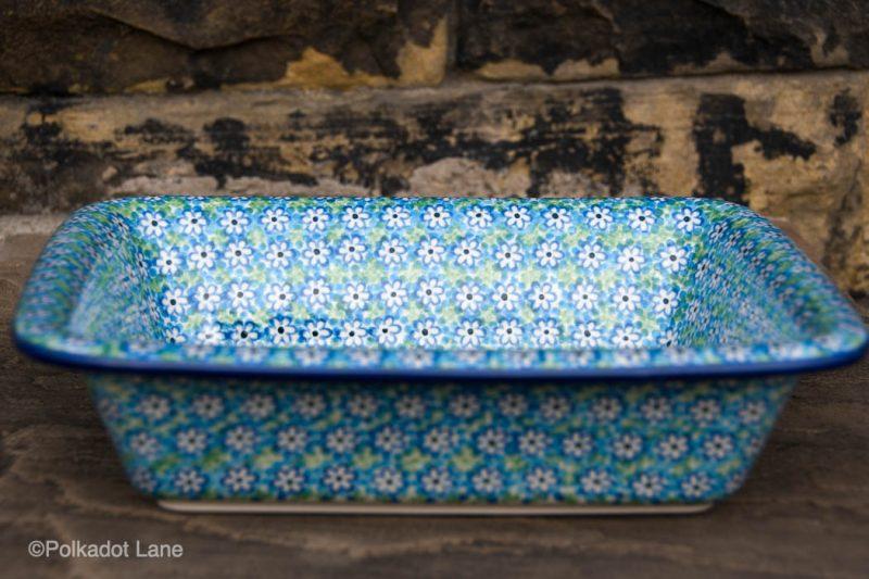Turquoise Daisy Medium Oven Dish by Ceramika Artystyczna