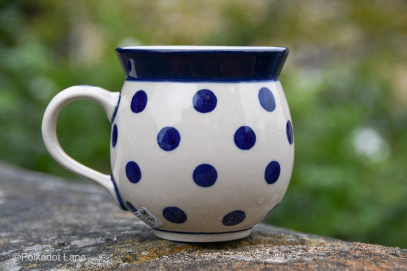 Polish Pottery Mug Blue Spots on White from Polkadot Lane UK