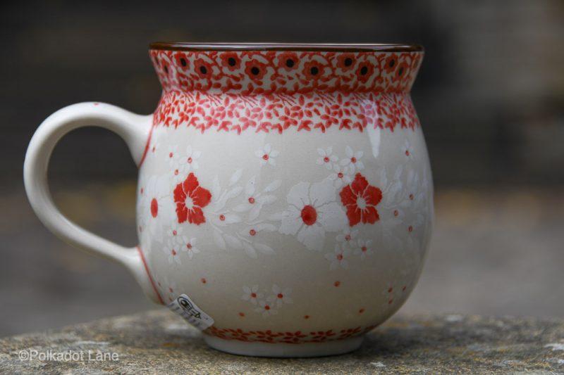 Polish Pottery Medium size Mug Red and White Flowers by Ceramika Artystyczna