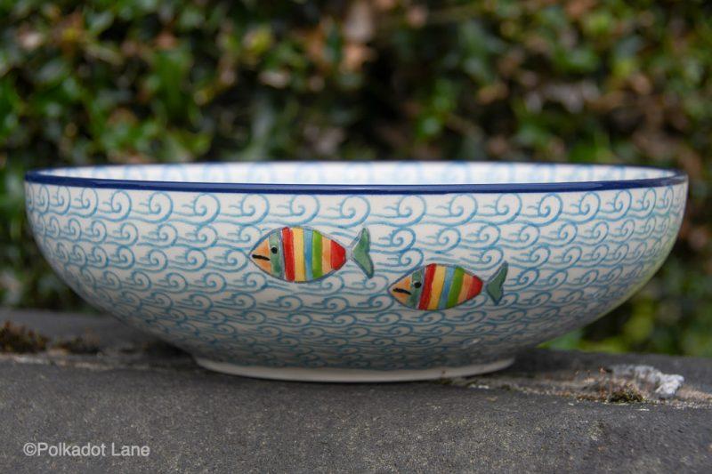 Fish in the Sea Salad Bowl by Ceramika Artystyczna Polish Pottery