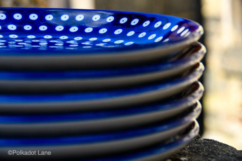 Blue Spotty Dinner Plates Set of Six by Ceramika Artystyczna