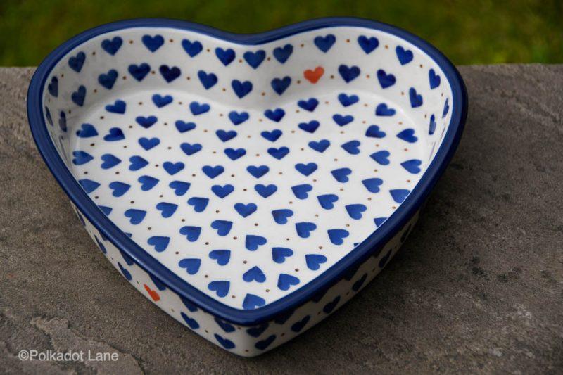 Small Hearts Pattern Shallow Heart Dish by Ceramika Artystyczna
