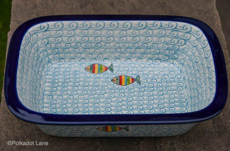 Fish in the Sea Small Oven Dish Ceramika Artystyczna from Polkadot Lane UK