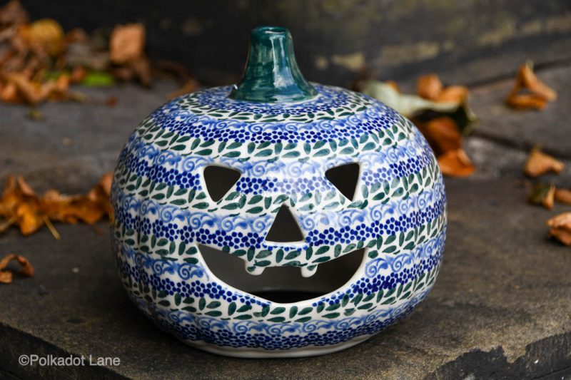 Polish Pottery Pumpkin Blue Green Pattern by Ceramika Andy