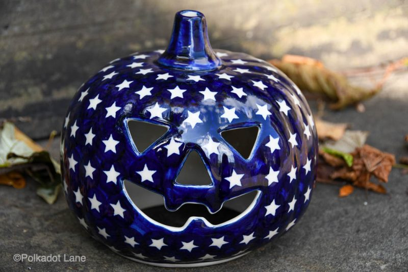 Polish Pottery White Star Pumpkin by Ceramika Andy