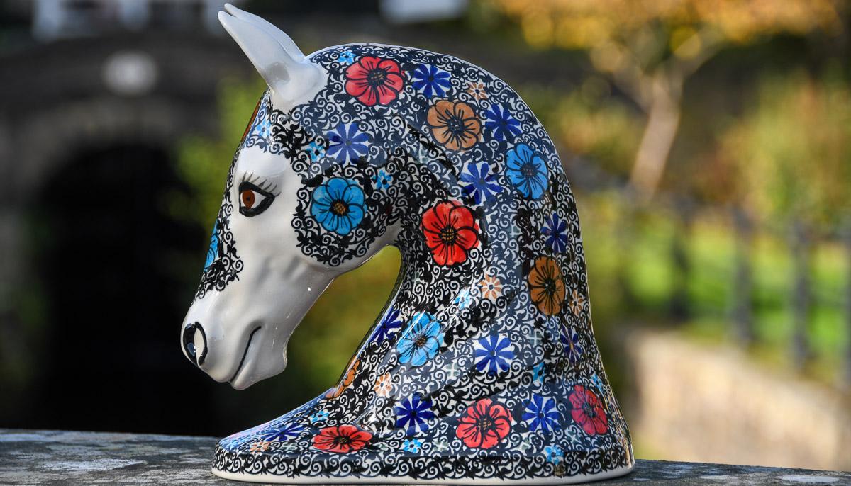 Polkadot Lane Polish pottery Horse Head from Ceramika Andy