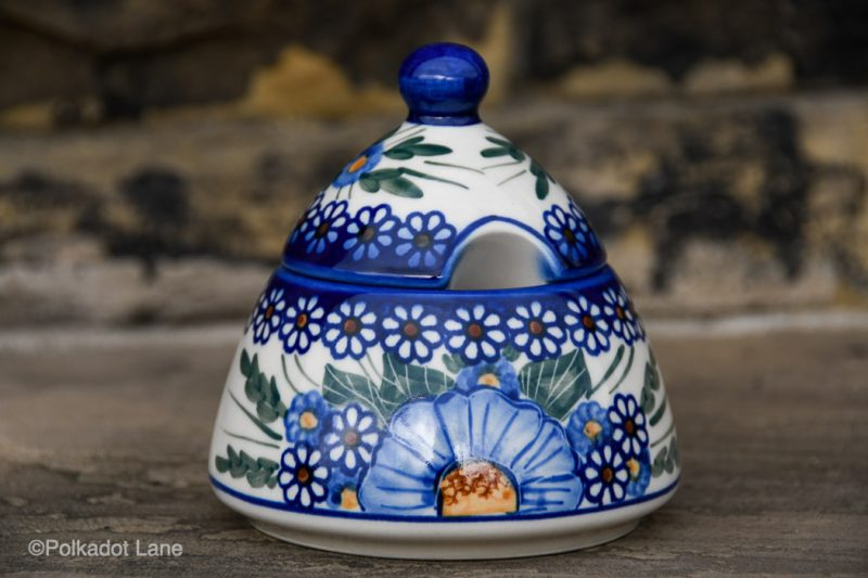 Blue Flower Garden Sugar Bowl by Ceramika Andy Polish Pottery