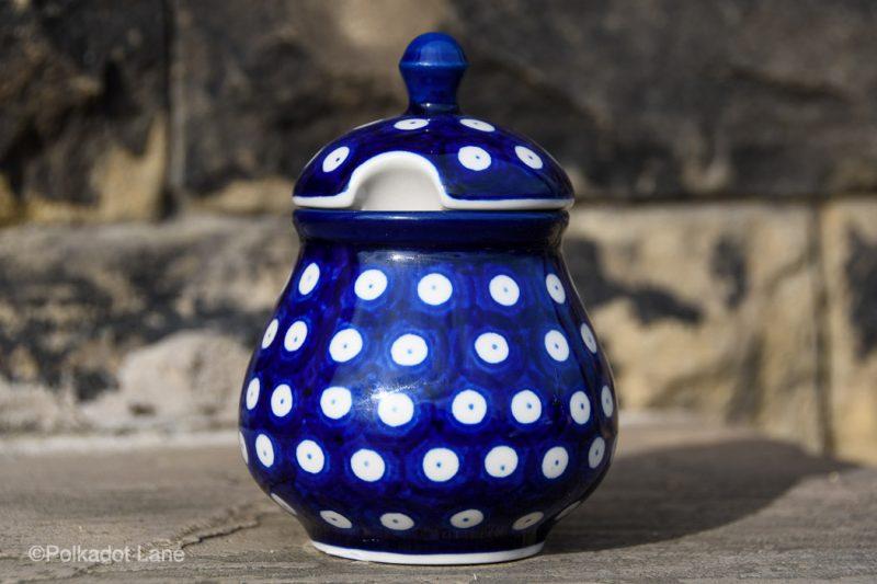 Blue Spotty Sugar Bowl by Ceramika Artystyczna