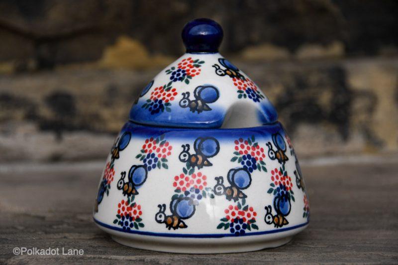Bumble Bee Pattern Sugar Bowl by Ceramika Andy Polish Pottery