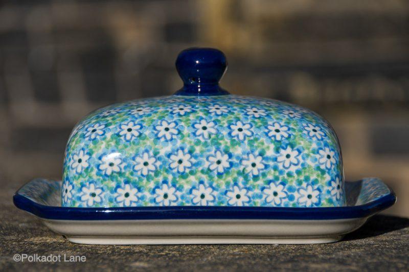 Turquoise Daisy Butter Dish by Ceramika Artystyczna