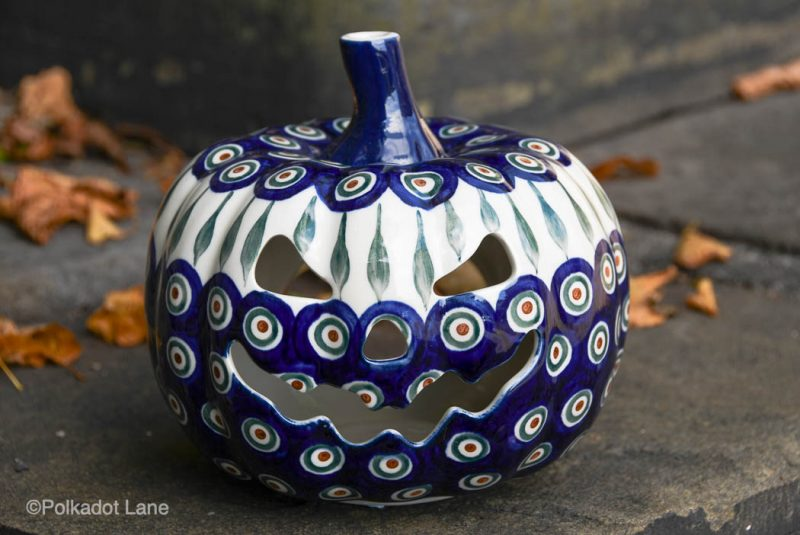 Peacock Leaf Ceramic Pumpkin by Ceramika Artystyczna