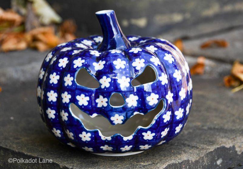 White Flower on Blue Ceramic Pumpkin by Ceramika Artystyczna