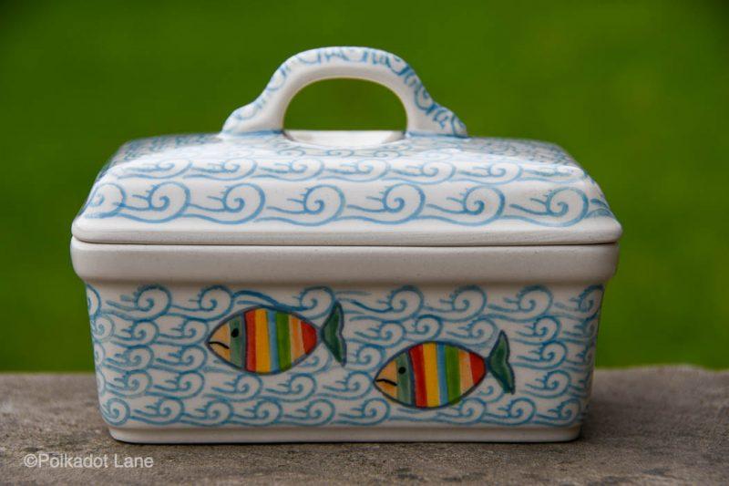 Polish Pottery Fish in the Sea Butter Dish by Ceramika Artystyczna