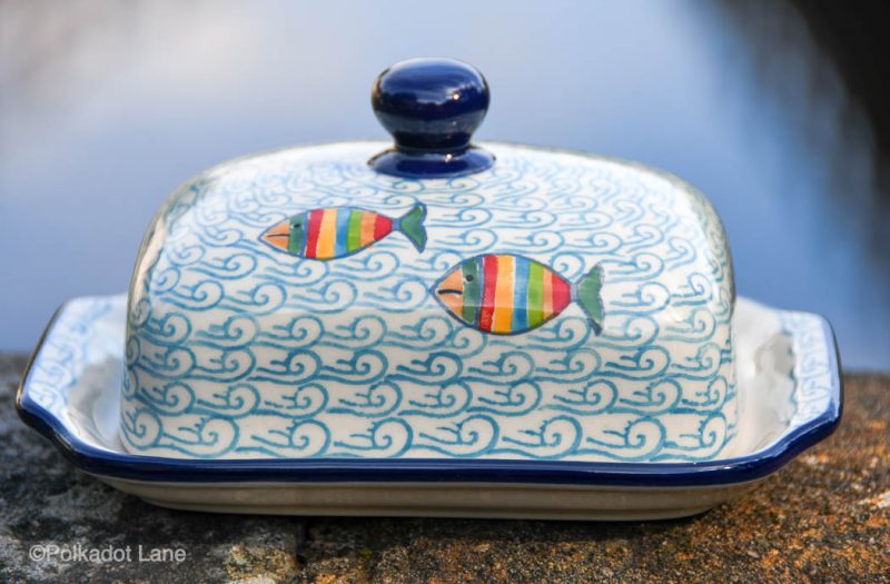 Fish in the Sea Pattern Butter Dish by Ceramika Artystyczna Polish Pottery
