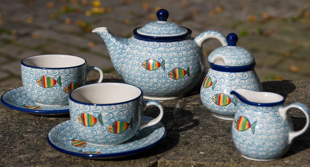Fish in the Sea Tea Set by Ceramika Artystyczna Polish Pottery