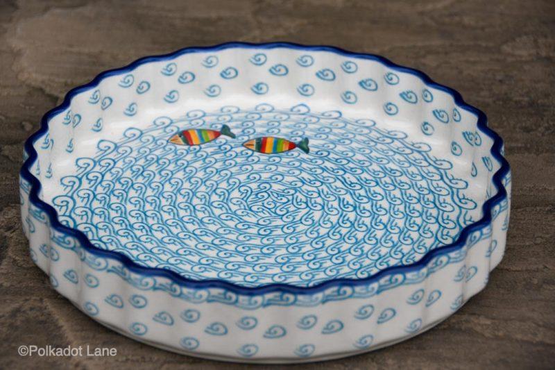 Polish Pottery Fish in the Sea Flan Dish by Ceramika Artystyczna