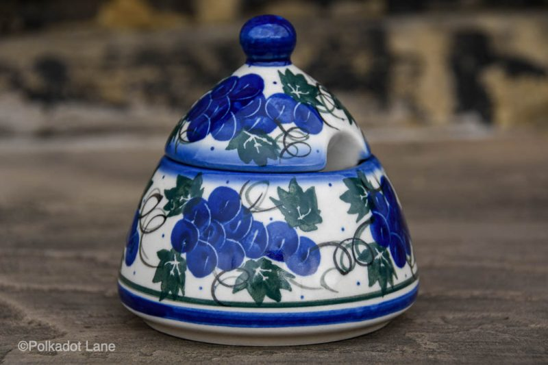 Polish Pottery Cone Shaped Sugar Bowl Grapes Pattern by Ceramika Andy
