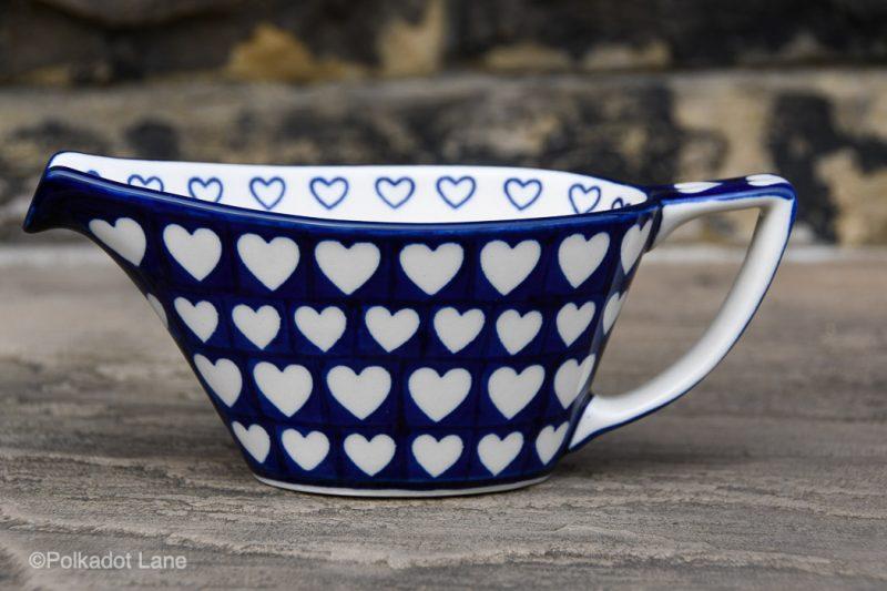 Hearts Pattern Gravy Jug by Ceramika Artystyczna Polish Pottery