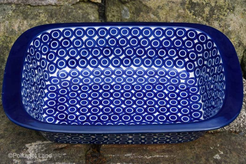 Circles Pattern Large Oven Dish by Ceramika Artystyczna Polish Pottery