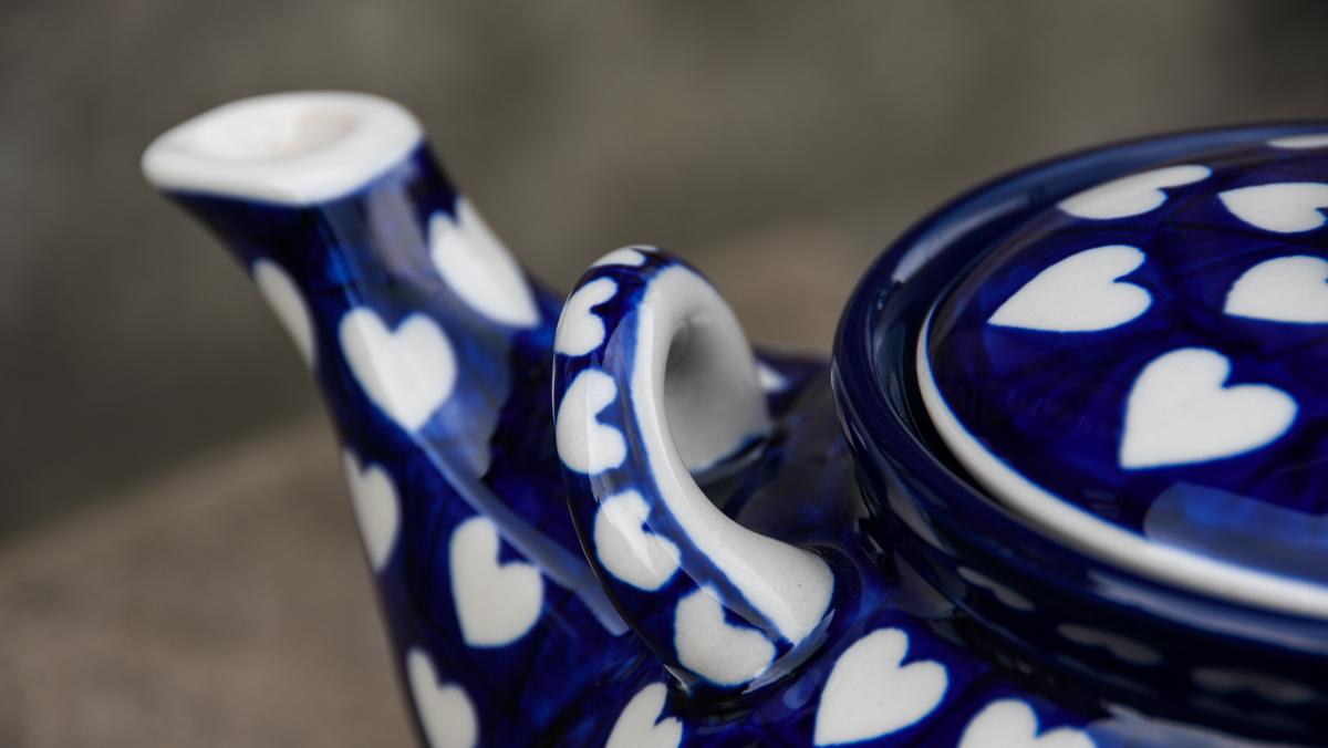 Hearts Pattern Large Teapot by Ceramika Artystyczna