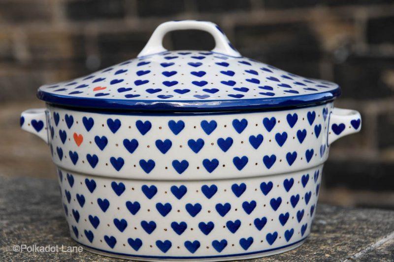 Polish Pottery Small Hearts Casserole by Ceramika Artystyczna
