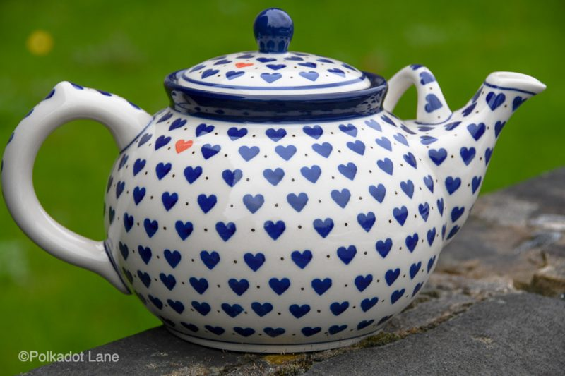 Small Hearts pattern Large Teapot for four or more from Polkadot Lane Polish Pottery
